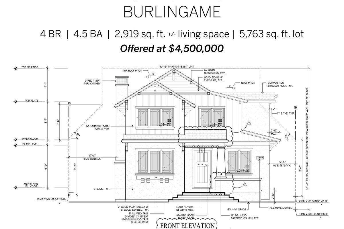 Single Family Homes for Sale at 1445 Balboa Avenue Burlingame, California 94010 United States