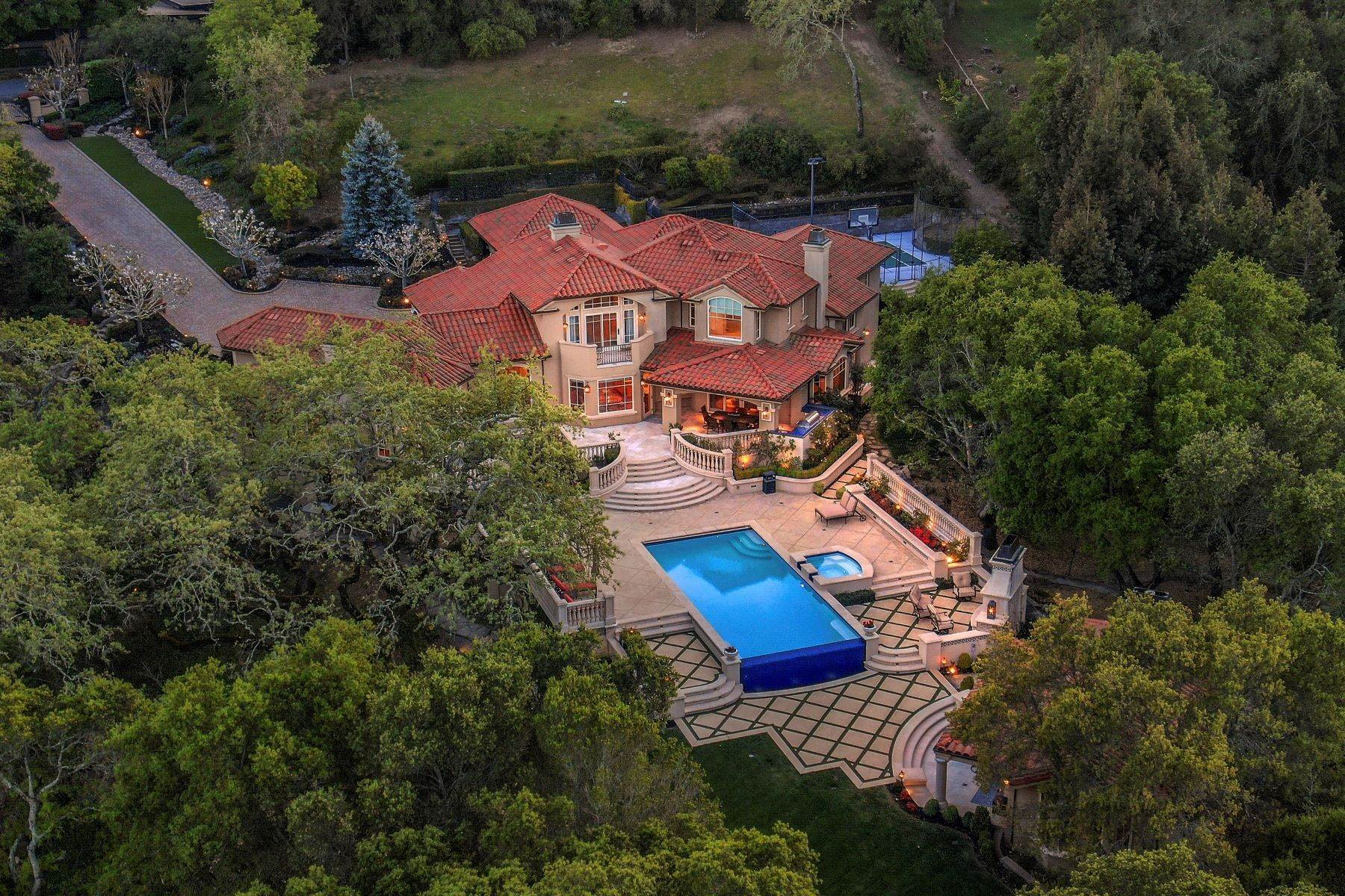 16. Single Family Homes for Sale at Custom Built Mediterranean with Views 4200 Canyon Road Lafayette, California 94549 United States