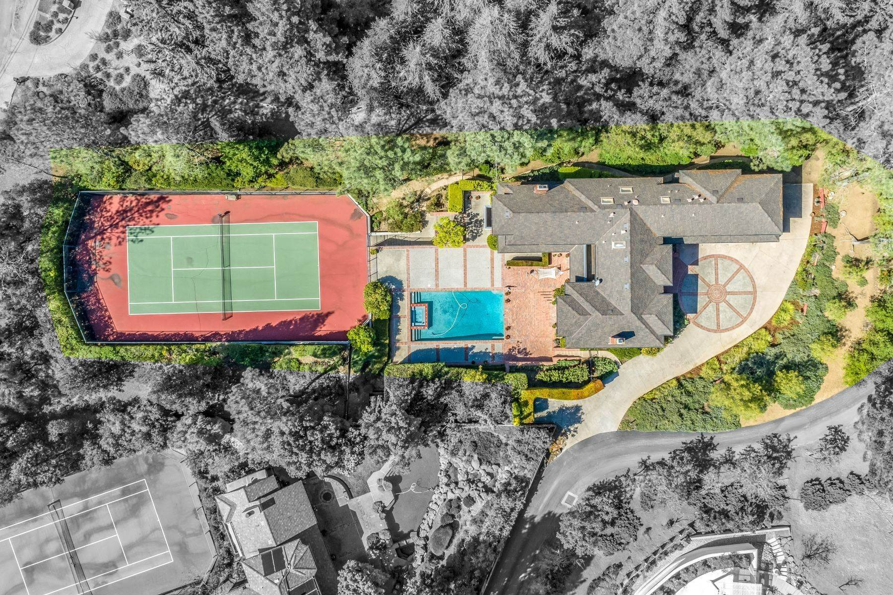 Single Family Homes for Sale at Exceptional Estate with Pool and Tennis Court 885 Dover Court Los Altos, California 94022 United States
